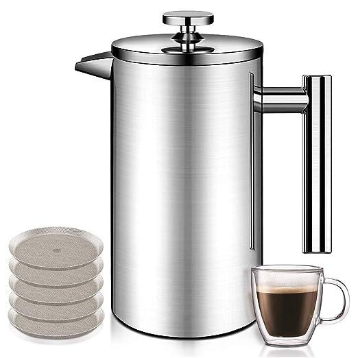 Cafetera de Goteo de Acero Inoxidable con 5 filtros de Acero ...
