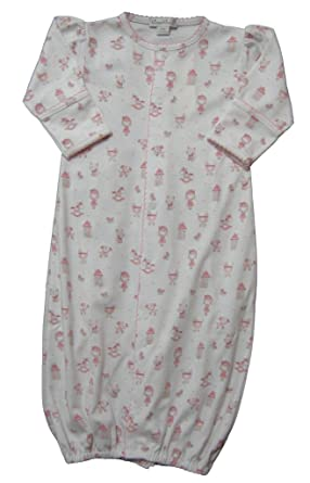 2f6eacb3e3c Amazon.com  Kissy Kissy Baby-Girls Infant Doll House Dreams Print  Convertible Gown-White With Pink-Preemie  Clothing