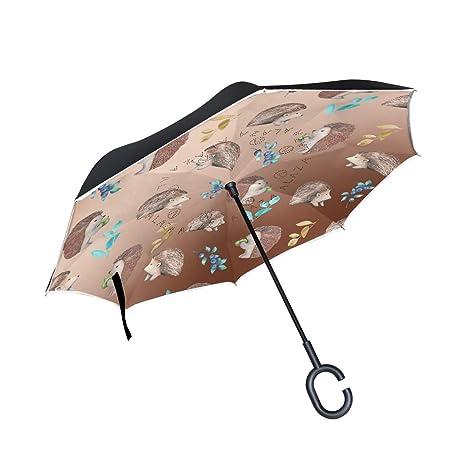 7a18a1166994 Amazon.com : FVFV Grey Hedgehog Inverted Umbrella Compact Windproof ...