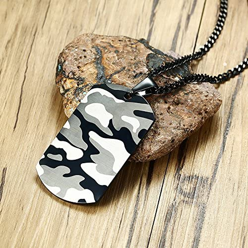 BeautySalon Military Army Stainless Steel Mens Women Cool Camouflage Camo ID Tag Necklaces-Free Custom