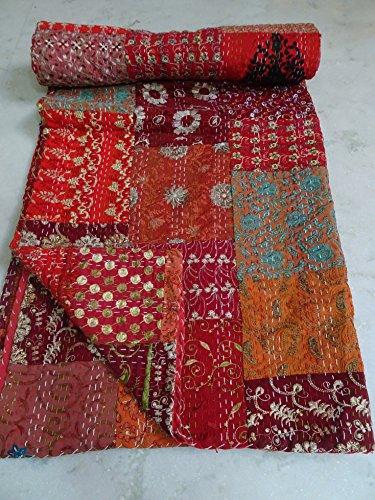 Tribal Asian Textiles Patola Cotton Patch Work Kantha Quilt, Kantha Blanket Bedspread, Patch Kantha Throw, King Kantha, Kantha Rallies Indian Sari Quilt, Size 90