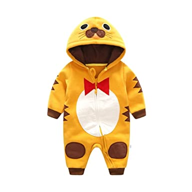 300383eee Jinjiu Toddler Baby Boys Girls Tiger Hoodie Rompers Newborn Cartoon  Bodysuit Clothes (12M)