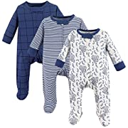 Touched by Nature Baby Organic Cotton Sleep and Play, 3 Pack, Elephants, 3-6 Months (6M)