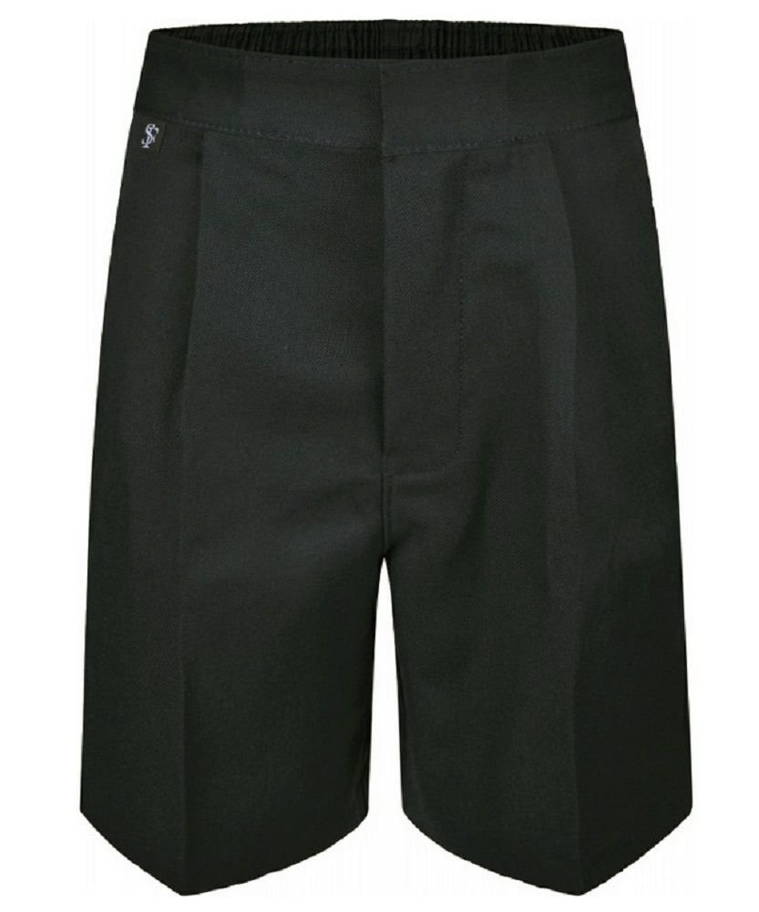 Ages 9-16 Plus Size Boys Mens School Shorts Elasticated Waist Black Grey Navy Sturdy Wider Fit
