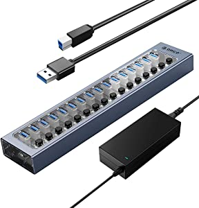 ORICO USB Hub 3.0 Powered 16 Ports USB Data Hub with 12V Power Adapter, Individual Power Switches, and LEDs, USB Extension for iMac Pro, MacBook Air/Mini, PS4, Surface Pro, Notebook PC, Laptop, HDD
