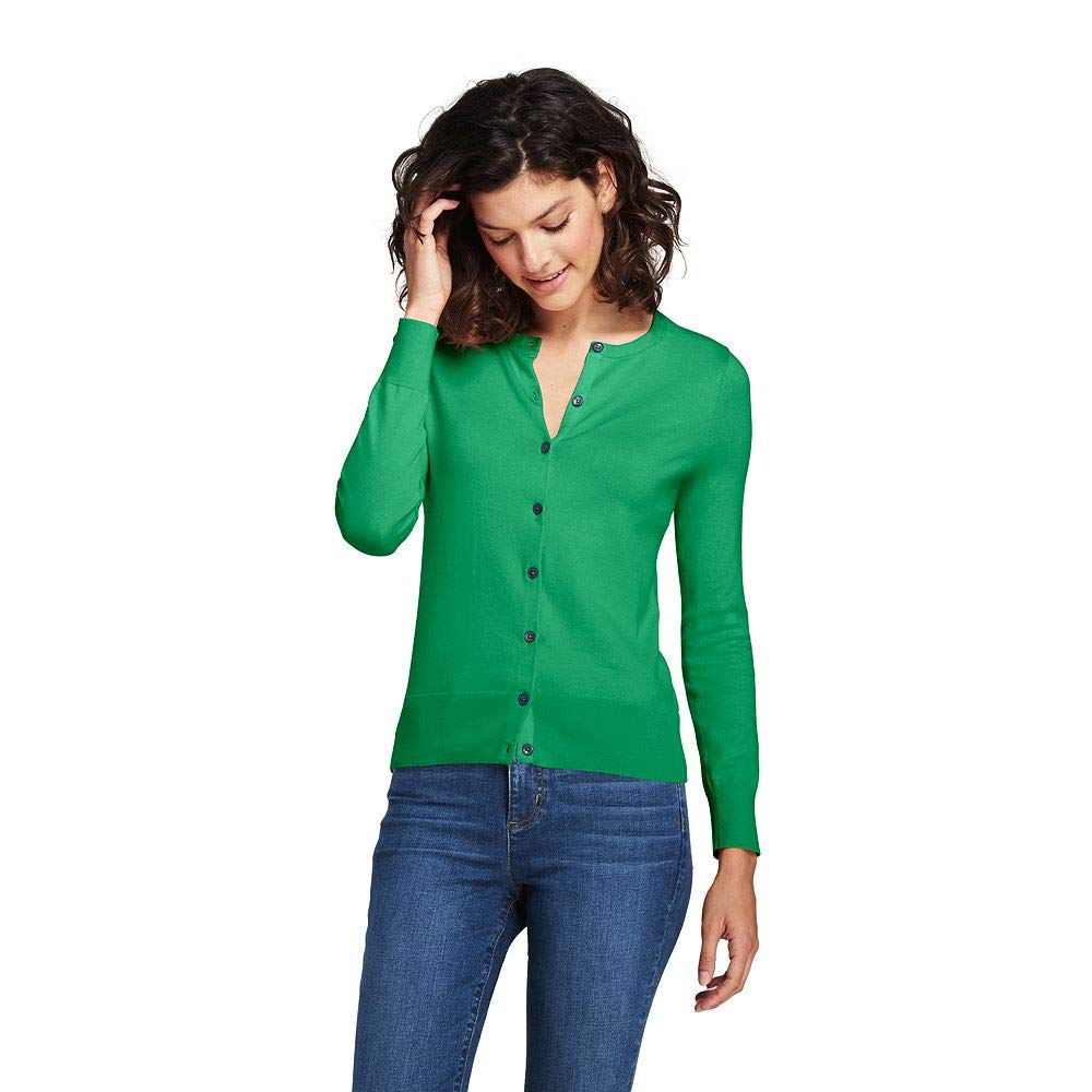 Lands' End Women's Supima Cotton Cardigan Sweater, S, Vibrant Clover