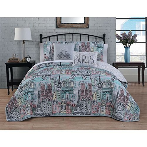 5pc Girls Blue I Love Paris Quilt King Set, Polyester, Stylish, Eiffel Tower Themed Bedding France Inspired Pattern Chic Pink Purple Teal Black Cream Grey Yellow Color
