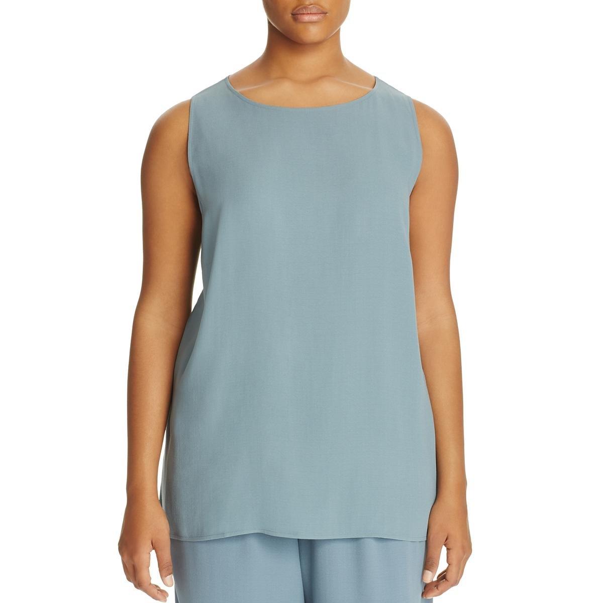 Eileen Fisher Womens Plus Silk Hi-Low Shell Blue 3X