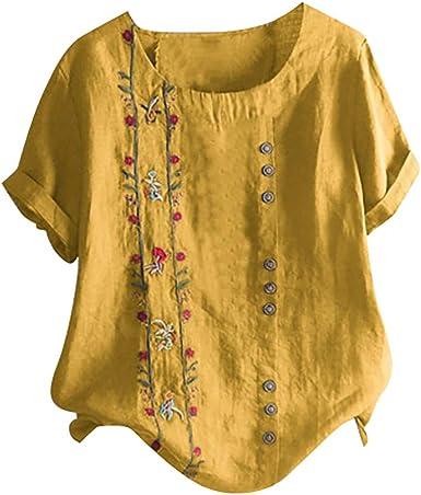 Overdose Blusa de Talla Grande de Lino Suave Camisa Bordada Floral Bohemia de Las Mujeres Camisa de Manga Corta Top de Talla Grande: Amazon.es: Ropa y accesorios