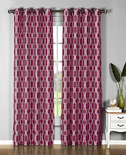 Window Elements  Wesley Faux Silk Extra Wide 108 x 96 in. Grommet  Curtain Panel Pair, Red ()