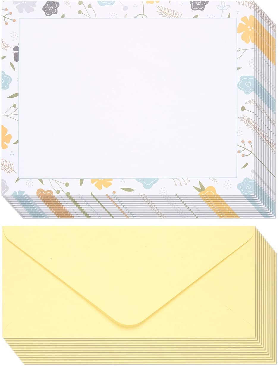 8.5 x 11 Inches, 48-Pack Floral Stationary Paper and Envelopes Set