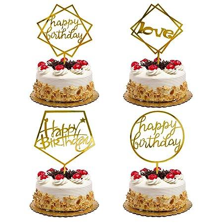 Soleebee Happy Birthday Topper de Pastel, Oro Brillo ...