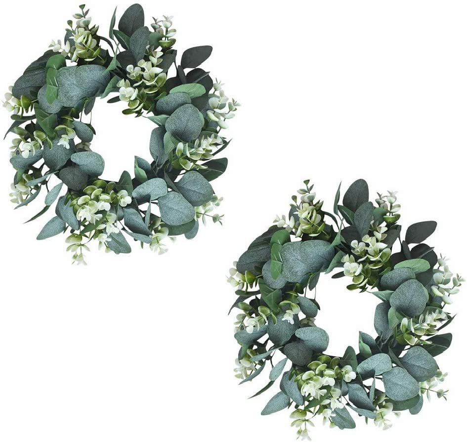 GUFIKY 2-Pack 10-Inch Eucalyptus Wreath, Artificial Boxwood Green Garland for Home Spring Summer Farmhouse Decoration