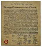 The Declaration of Independence, Authentic Full Size Replica Printed on Antiqued Genuine Parchment. 23 x 29