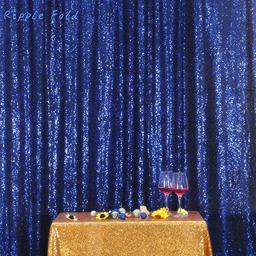 Navy Blue PartyDelight Sequin Backdrop Photography and Photo Booth, Wedding, Curtain, 5FTx6FT]()