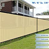 E&K Sunrise 4′ x 16′ Beige Fence Privacy Screen, Commercial Outdoor Backyard Shade Windscreen Mesh Fabric 3 Years Warranty (Customized Sizes Available) – Set of 4 Review