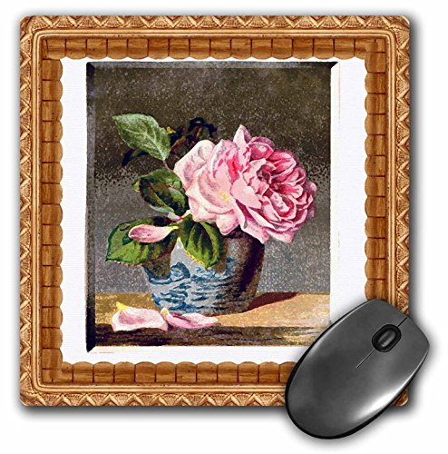 "3dRose Image of Victorian Cabbage Rose Painting Mouse Pad, 8"" x 8"" (mp_179501_1)"