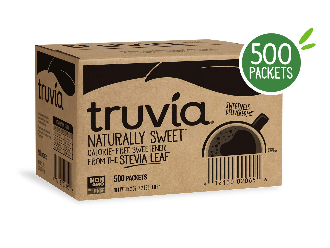Truvia Natural Stevia Sweetener Packets, 500 Count (35.25 Ounce) by Truvia