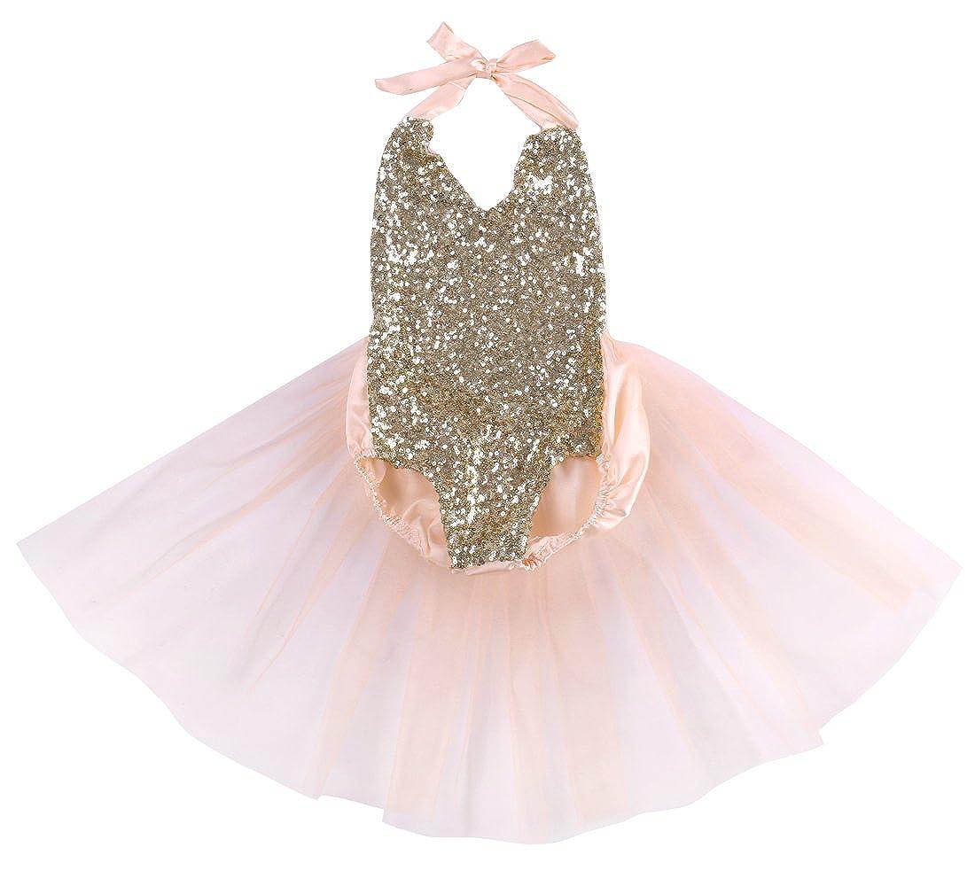 12b213f505ea Amazon.com  Hotone Baby Girls Sequins Bodysuit Romper Jumpsuit ...