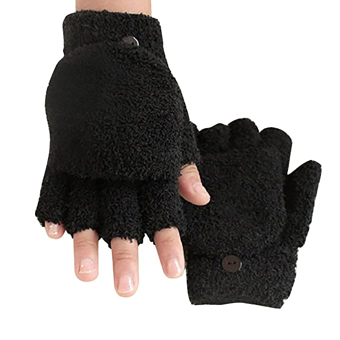 Fashion Women/'s Mittens Finger  Winter Warm Knit stretch Fleece Gloves Black