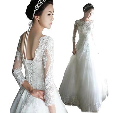 Dimei A line Lace Wedding Dresses Scoop Neck Lace up Back Wedding ...