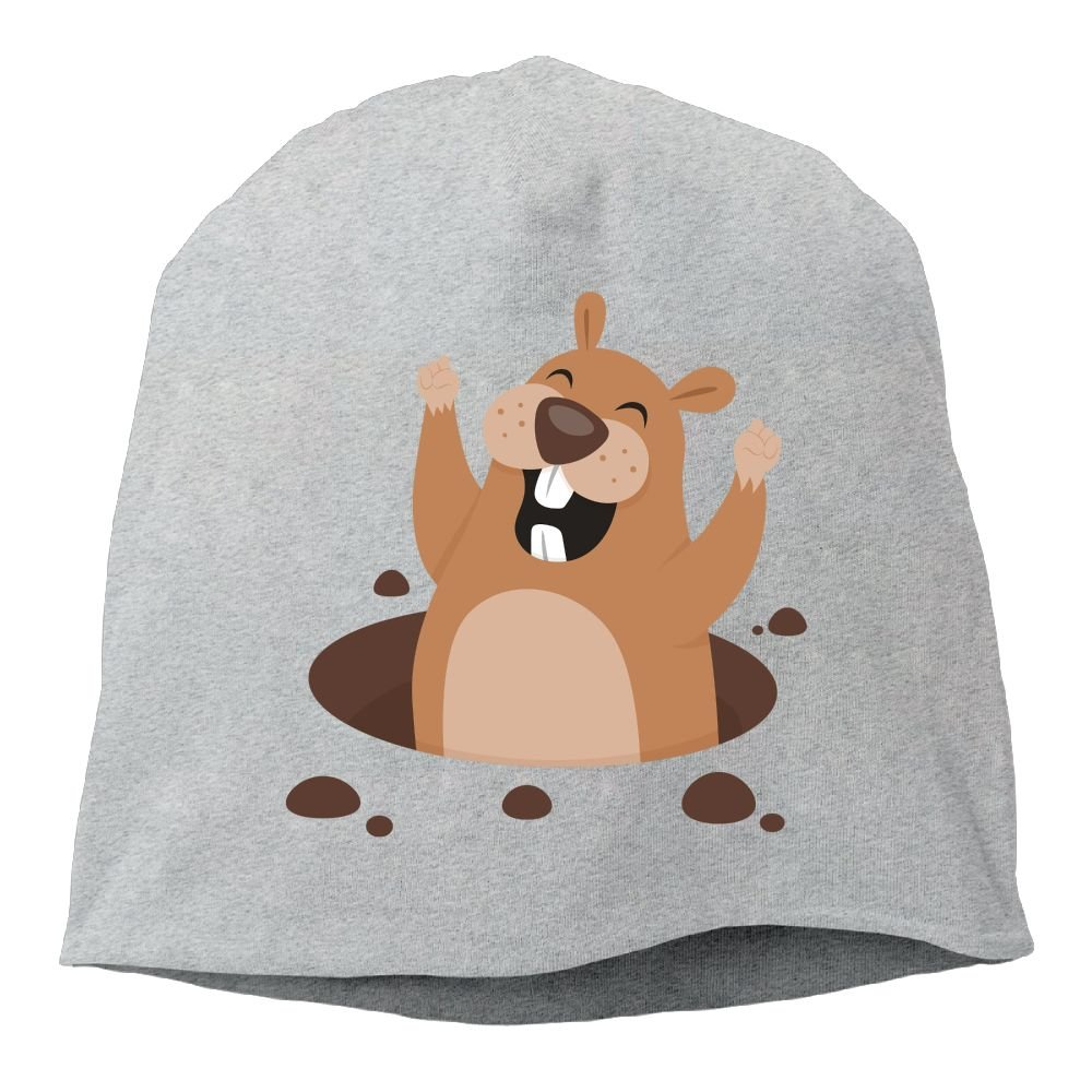 Fashion Solid Color Groundhog Lovers Beanie Cap for Unisex White One Size