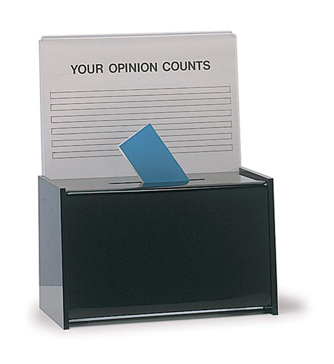 Displays2go Small Acrylic Ballot Box with 8.5x5.5 Header for Tabletop Use, Black (SBB)