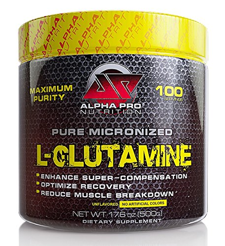 Glutamine, Ultra Pure Micronized L Glutamine by Alpha Pro Nutrition, No Flavors/Coloring, Mixes Instantly, The Athlete's Amino Acid, 500g pure powder, 100 servings, Full 5 g serving. (Micronized Glutamine Powder)