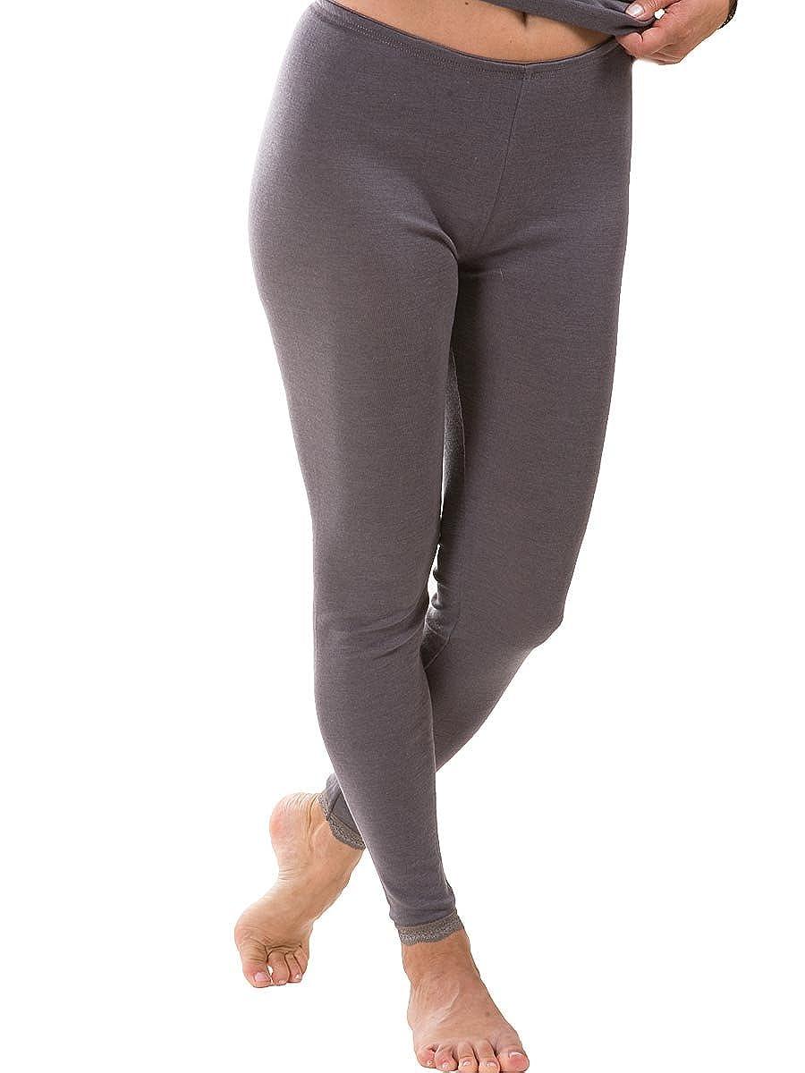 Engel, Women's Lace Trim Thermal Leggings, 70% Organic Merino Wool, 30% Silk 701510