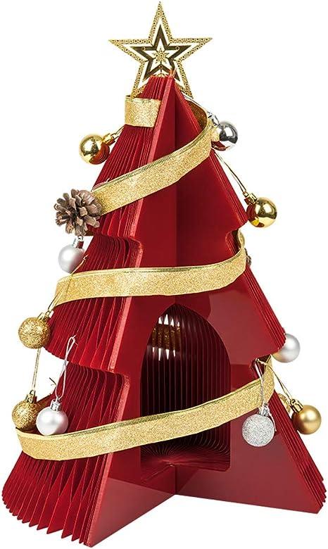 XMIRA Árbol De Navidad Artificial En Mesa Papel Kraft Ecológico En 3 Pies Adornos Plegables y De Fácil Almacenamiento Dentro De Regalos De Decoración Navideña Estilo Rojo-A 100 CM: Amazon.es: Deportes y