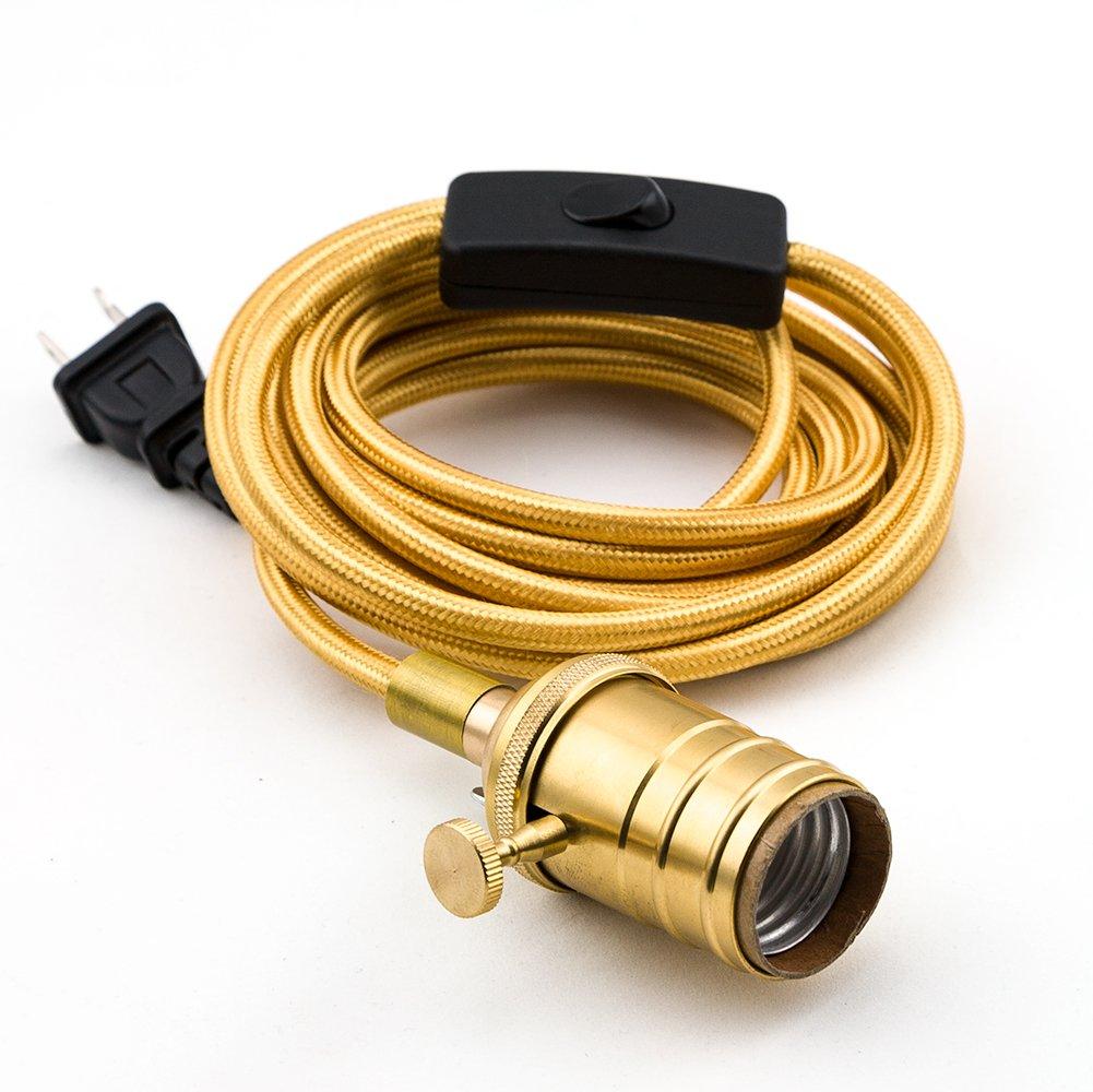 Fantado Vintage Gold Pendant Light Lamp Cord w/Satin Brass Finish, 11FT Braided Cloth by PaperLanternStore