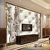 LHDLily 3D Wallpaper Mural Wall Sticker Thickening Beiembossed Drill High - End Fashion Stone Plum Blossom Wall Painting Art Soft Bag Living Room Tv Background 400cmX300cm