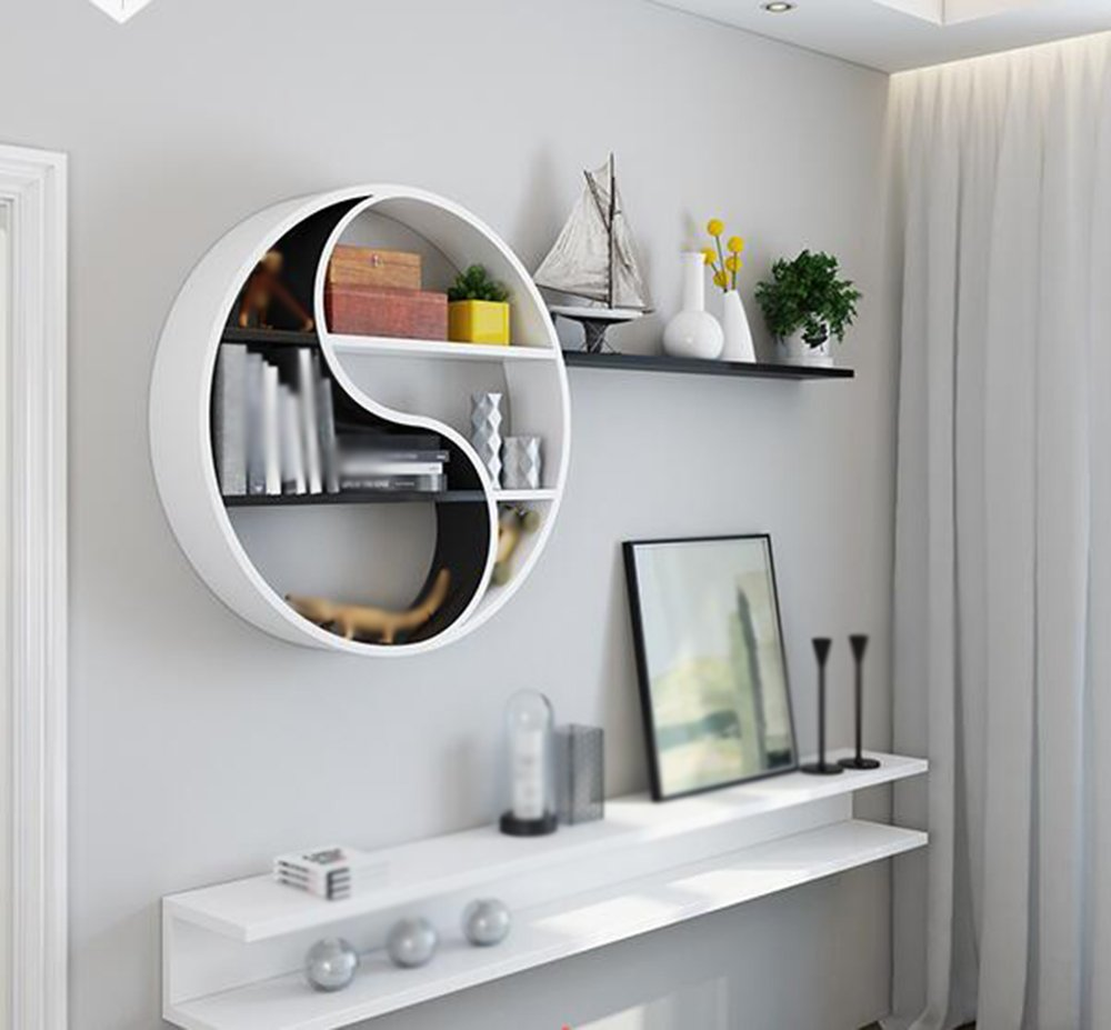 Wall Round shelves / contemporary Simple shelves Clapboard / parlor Wall shelf / wall-mounted Bedroom shelves / black white Kitchen wall storage shelves /