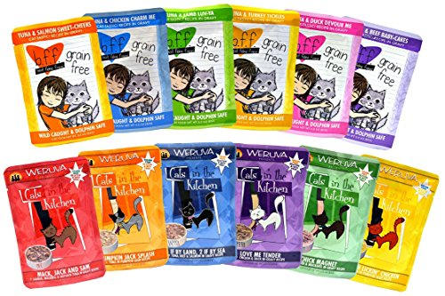 Weruva Cats in the Kitchen / Best Feline Friend Grain Free Cat Food Variety Pack - 12 Great Flavors - 3 Ounces Each (24-Pack)