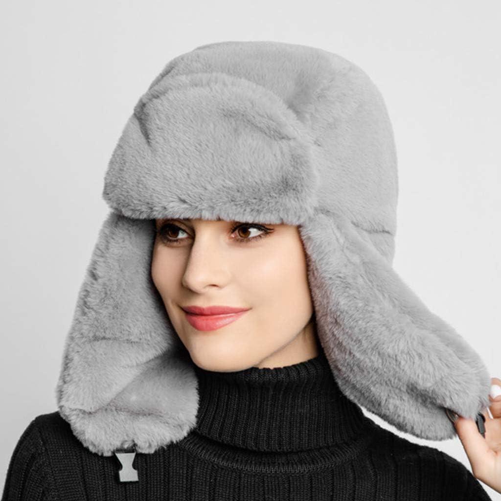 dongguan NUEEUDD Sombreros para Mujer Invierno c/álido Orejera Sombrero Ruso Espesar Forro Nieve Esqu/í Resistente al Viento Gorros de Color s/ólido Gorro de Bombardero Negro