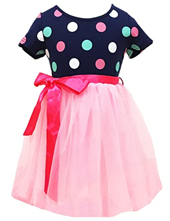 07a9de8da Amazon.com  Little Girls Tutu Dresses Toddler Polka Dots Dress Pink ...