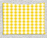 XHFITCLtd Yellow and White Tapestry, Checkered Motif with Little Spring Blooms Classic Country Picnic Pattern, Wall Hanging for Bedroom Living Room Dorm, 80 W X 60 L Inches, Yellow White