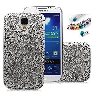 Cocoz®new Releases Romantic White Roses Carved Palace Fashion Design Samsung Galaxy S4 I9500 Hard Case Cover Skin Retail Packing(White Roses. Palace Carving Craft) -H021