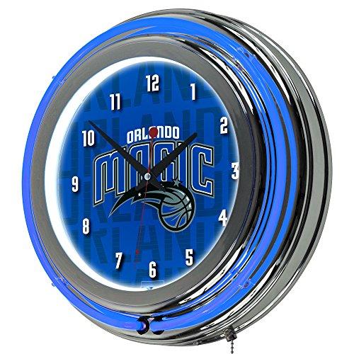 Trademark Gameroom NBA1400-OM3 NBA Chrome Double Rung Neon Clock - City - Orlando Magic ()