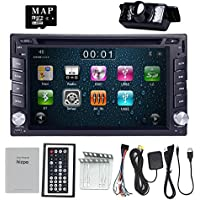 HIZPO 6.2 Inch Universal Double 2 Din In Dash Car CD DVD Player GPS Stereo Radio BT USB IPOD RDS 3G + FREE MAP CARD + Reverse Camera