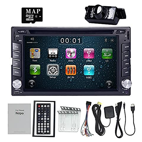 HIZPO 6.2 Inch Universal Double 2 Din In Dash Car CD DVD Player GPS Stereo Radio BT USB IPOD RDS 3G + FREE MAP CARD + Reverse (Backup Camera Multi Input)