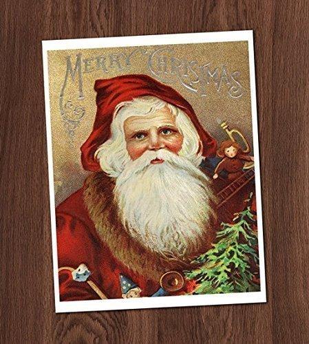 Amazon.com: Santa Claus Vintage Card Art Print 8x10 Wall Art ...