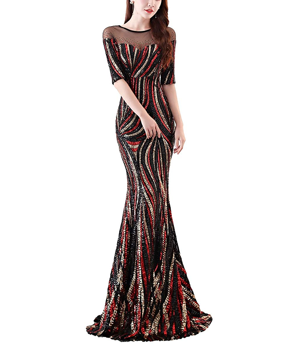 1372blackred Chowsir Women Sexy Elegant Slim Sequin Long Cocktail Party Evening Dress