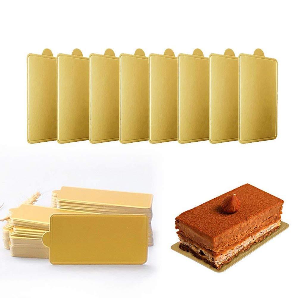 Alohha 100pcs torta piatti da dessert Board base grease-proof e freezer-durable pasticceria in cartone Mini Square Golden Cardboard cake base decorazione