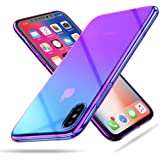 For iPhone X Phone Case, RAXFLY Gradual Colorful Ultra Thin Electroplating Purple Light Mirror Transparent Clear Hard Back Cover for iPhone X-Purple