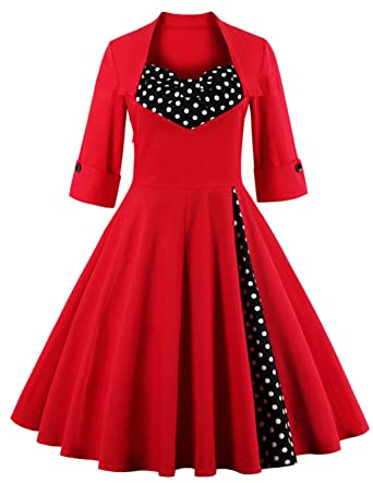 f38d34c79c Oriention Womens 3 4 Sleeve Vintage 1950 s Inspired Button Swing Evening  Dress Rockabilly Pinup Bridesmaid Cocktail Gowns Ball Gown Party Dress  ...