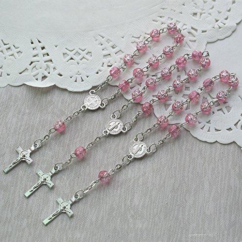 24 Pcs Rosebud Mini Rosary Favor for Baptism Pink / Christening / First Communion / Sweet 15 / Wedding / Recuerdos de Bautizo