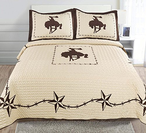 3-piece Printed Western Lone Star Barb Wire Cabin / Lodge Cowboy Horse Quilt Bedspread Coverlet Set 110