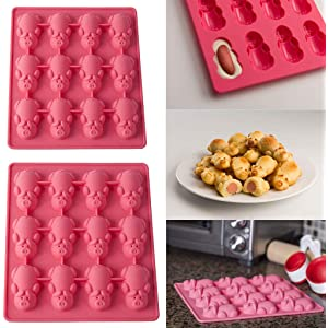 12 Little Pigs in a Blanket Silicone Baking Mold, 2 Pack Pink Silicone Pig Shape