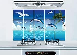 ملصقات حائط للمطبخ على شكل حيوان البحر الدلافين ديكور المنزل الحمام ملصق مقاوم للماء